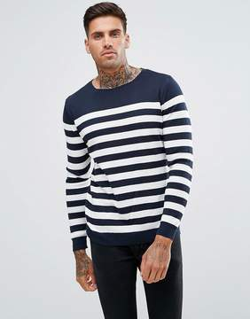 Pull&Bear Striped Sweater In Navy Blue