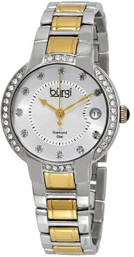 Burgi Silver Dial Two-Tone Stainless Steel Ladies Watch