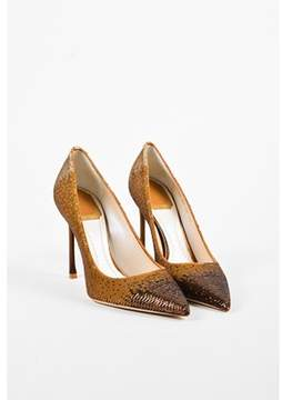 Christian Dior or Metallic Gold Suede Sequined shade Pointed Pumps.