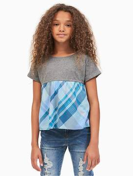 Calvin Klein Jeans Girls Plaid Flounce Top