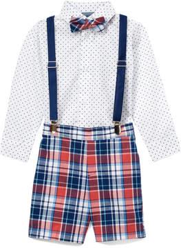 Izod Bubble Gum Plaid Suspender Shorts Set - Toddler