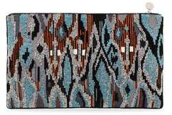 Forest of Chintz Tribal Ikat Zip-Up Sequin Clutch