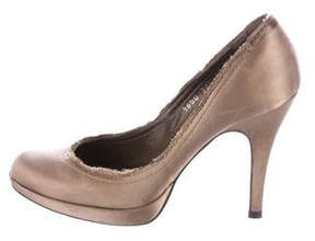 Pedro Garcia Satin Round-Toe Pumps