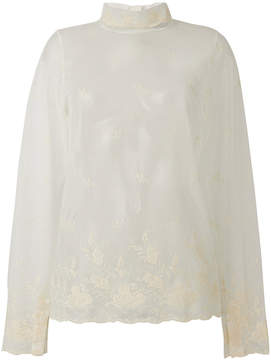 Ann Demeulemeester tulle lace detail top