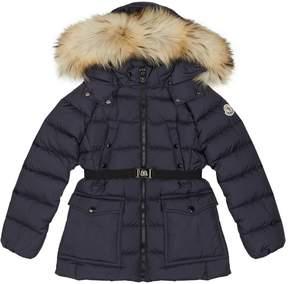 Moncler Genet Belted Fur Hood Coat