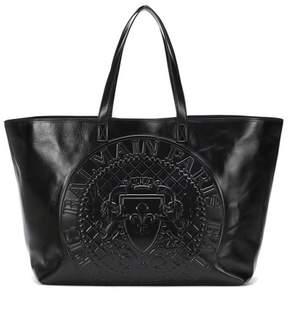 Balmain Logo-embossed leather shopper