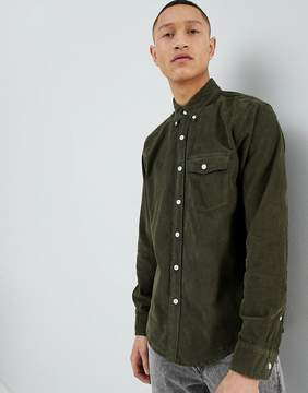 Abercrombie & Fitch Buttondown Fine Cord Shirt Regular Fit in Olive