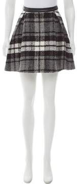 Drome Plaid-Accented Leather Skirt