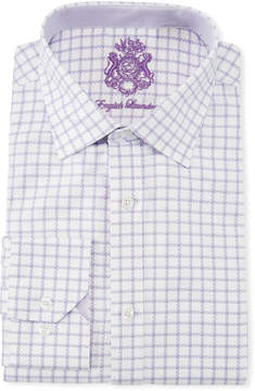 English Laundry Classic-Fit Herringbone-Gingham Dress Shirt, White/Purple