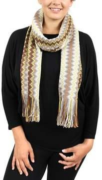 Missoni D4911 0003 Yellow/grey Wool Blend Crochet Knit Wave Scarf.