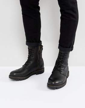 Selected Mill Leather Lace Up Boots In Black