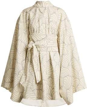 Awake Wide kimono-sleeve abstract-print dress