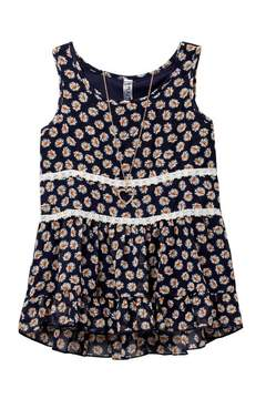 Beautees Daisy Print Baby Doll Top & Necklace (Big Girls)