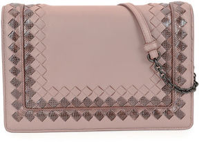 Bottega Veneta Leather Shoulder Bag with Snakeskin Trim