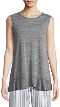Allen Allen Heathered Ruffle-Trim Crossover Tank