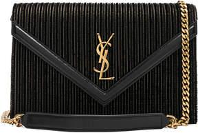 Saint Laurent Velvet & Leather Monogramme Le Sept Chain Bag