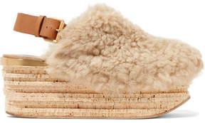 Chloé Camille Leather-trimmed Shearling Platform Slingback Sandals - Beige