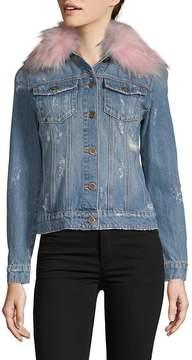 Driftwood Women's Geena Faux Fur Collar Denim Jacket