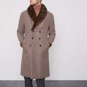 River Island Mens Light brown faux fur collar smart coat