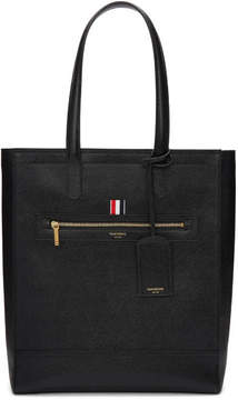Thom Browne Black Leather Zip Tote