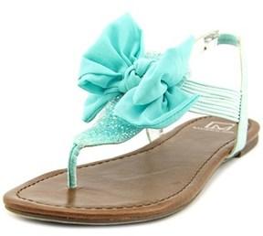 Material Girl Swan Women Open Toe Canvas Blue Thong Sandal.