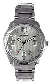 Peugeot Men's Silvertone Carbon Fiber Cutout Dial Watch