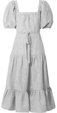 Co Striped Linen And Silk-blend Midi Dress - Storm blue
