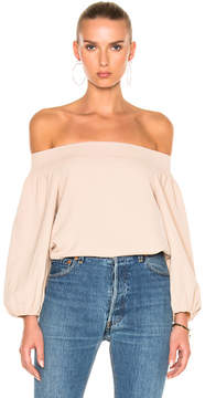 Tibi Twill Off-Shoulder Top