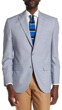 David Donahue Blue Houndstooth Two Button Notch Lapel Wool Classic Fit Sport Coat