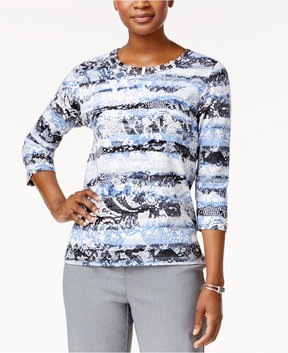 Alfred Dunner Printed Lattice-Neck Top