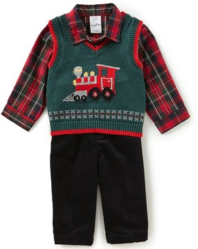 Starting Out Baby Boys 3-24 Months Plaid Button-Down Shirt, Train Vest & Pants 3-Piece Set