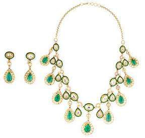 Amrapali 18K Emerald and Diamond Necklace and Drop Earring Set