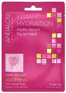 Andalou Naturals Instant Hydration Hydro Serum Facial Mask 1000 Roses, Single Use