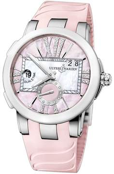 Ulysse Nardin Executive Dual Time Pink Mother of Pearl Dial Stainless Steel Pink Rubber Ladies Watch 243-10-3-397