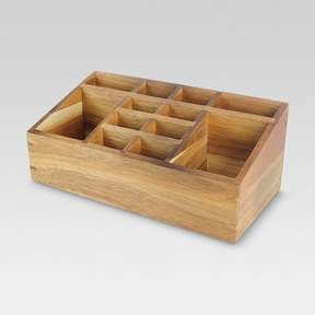 Threshold Wooden 12 Compartment Vanity Organizer with Magnetic Strip