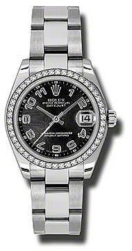 Rolex Datejust Lady 31 Black Concentric Dial Stainless Steel Oyster Bracelet Automatic Watch