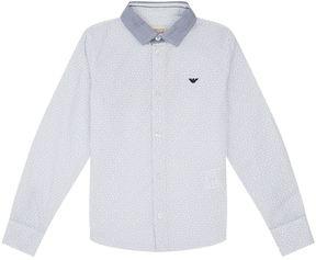 Armani Junior Contrast Collar Pattern Shirt