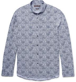 Michael Kors Slim-Fit Cutaway-Collar Printed Cotton-Poplin Shirt
