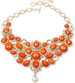 Amrita Singh Coral Austrian Crystal & Goldtone South Fork Bib Necklace