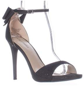 Zigi Soho Remi Ankle Strap Bow Heel Dress Sandals, Black Mesh.