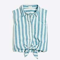 J.Crew Factory Girls' tie-front shirt in cotton-linen