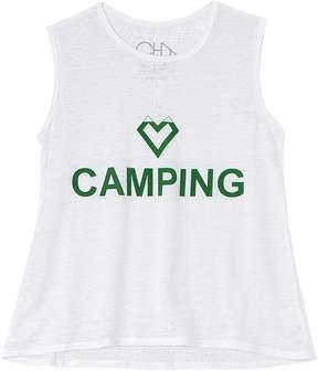 Chaser Girls' Flouncy I Heart Camping Tank