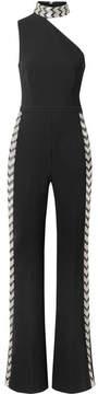 Rachel Zoe Fletcher One-shoulder Embellished Stretch-crepe Jumpsuit - Black