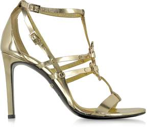 Roberto Cavalli Mirror Gold Leather High Heel Sandal