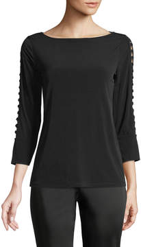 Carmen Marc Valvo Carmen By 3/4 Loop-Sleeve Boat-Neck Tee