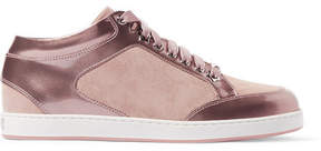 Jimmy Choo Miami Suede-paneled Metallic Patent-leather Sneakers - Antique rose