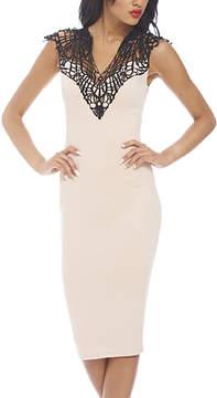 AX Paris Pink Crochet-Yoke Sheath Dress - Women