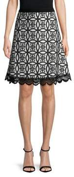 Isaac Mizrahi IMNYC Eyelet Fit-&-Flare Lace Trim Skirt