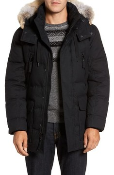 Andrew Marc Men's Tech Herringbone Down Parka With Genuine Coyote Fur Trim