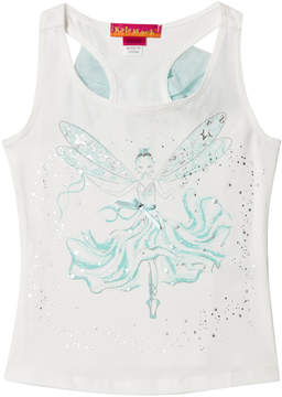 Kate Mack Biscotti White Aqua Fairy Print Vest Top with Tulle Bow on Back